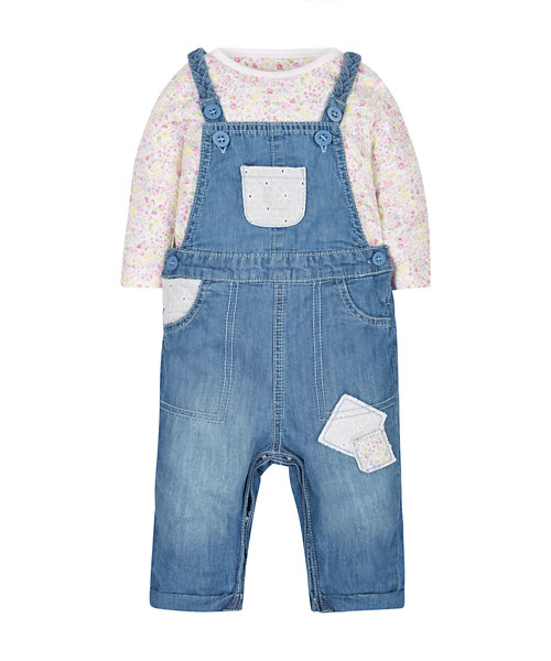 Floral Bodysuit and Denim Dungaree Set