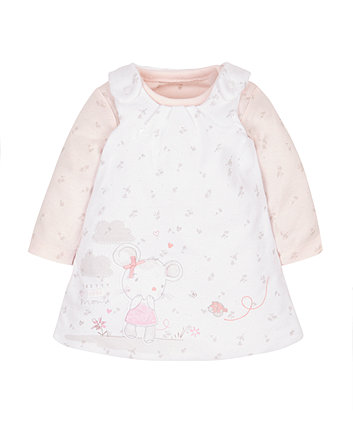 My First Little Mouse Wadded Pinny And Bodysuit Set