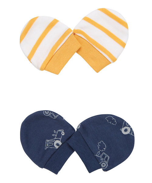 Tractor and Stripe Mittens - 2 Pack