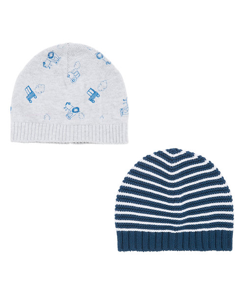 Stripy and Tractor Knitted Hats - 2 Pack