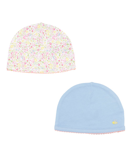 Floral and Plain Hats - 2 Pack