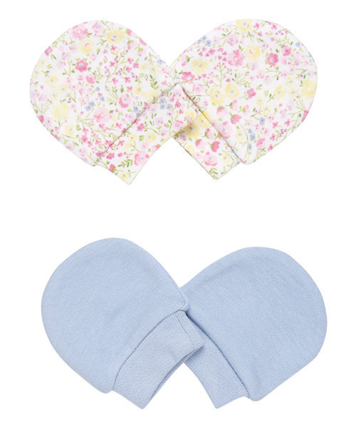Blue and Floral Scratch Mitts - 2 Pack