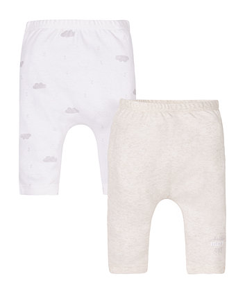 My First Oatmeal And Cloud Print Leggings - 2 Pack