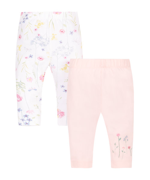 Pink and Floral Leggings - 2 Pack