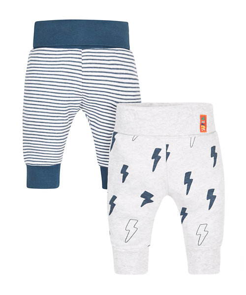 Striped and Lightning Print Joggers - 2 Pack
