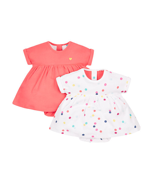 Spotty and Pink Romper Dress - 2 Pack