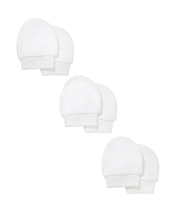 Mothercare My First White Scratch Mitts - 3 Pack