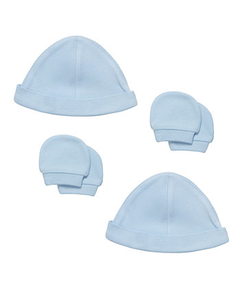 Mothercare My First Blue Interlock Hat And Mitts - 4 Piece Set