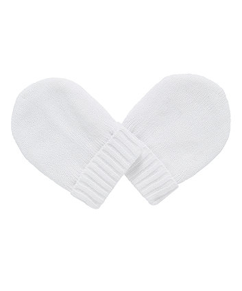 Mothercare My First White Knitted Mitts