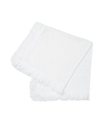 Mothercare White Fringe Knit Shawl