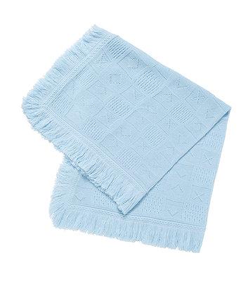 My First Fringe Knit Shawl - Blue