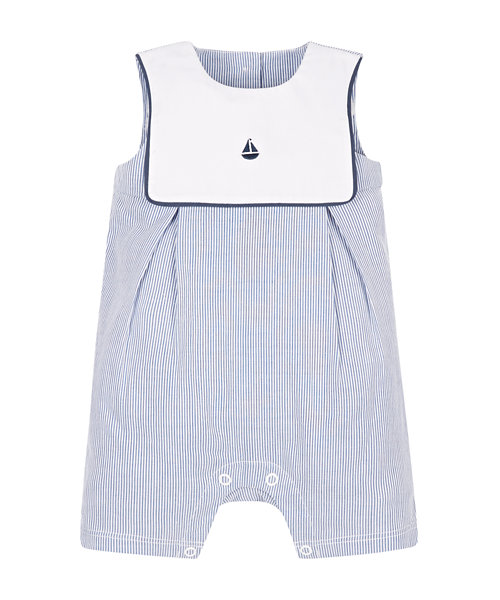 Sailor Bib Ticking Stripe Romper