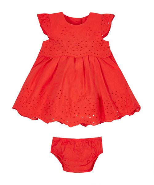 Red Broderie Dress