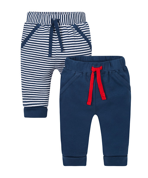 Stripy and Navy Joggers - 2 Pack