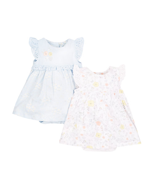 Floral and Blue Romper Dresses - 2 Pack
