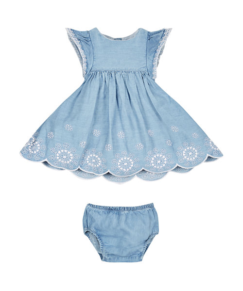 Chambray Broderie Dress and Knickers Set