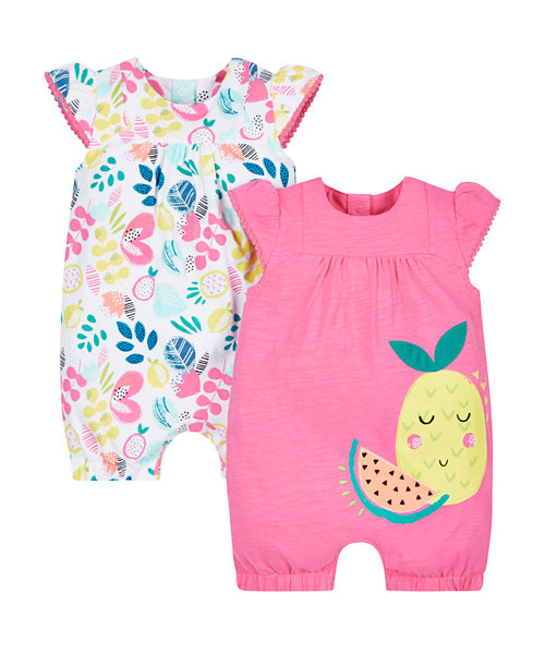 Floral and Fruit Rompers - 2 Pack