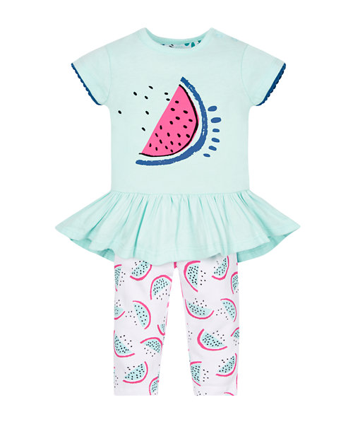 Watermelon Dress and Leggings Set