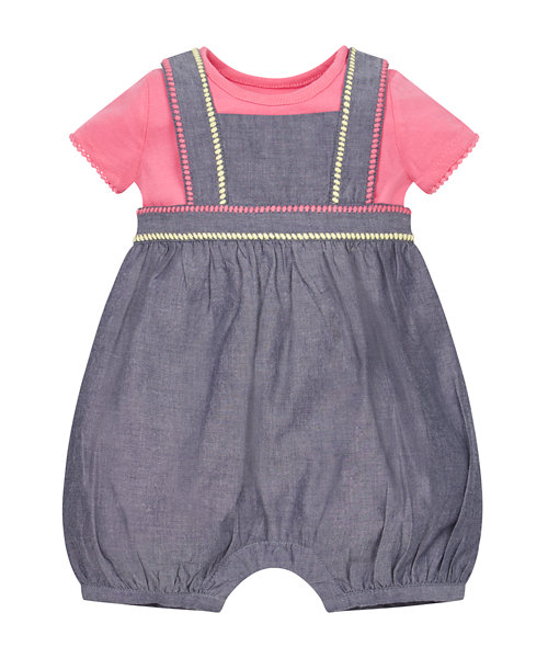 Chambray Bibshorts and Bodysuit Set