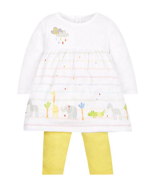 Striped Dress and Yellow Leggings Set