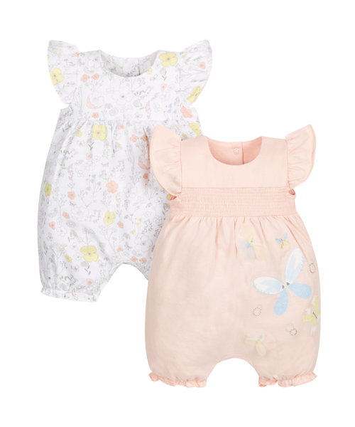 Floral Butterfly Rompers- 2 Pack