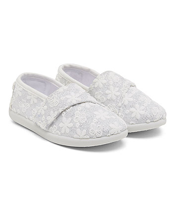 White Sparkle Broderie Canvas Shoes