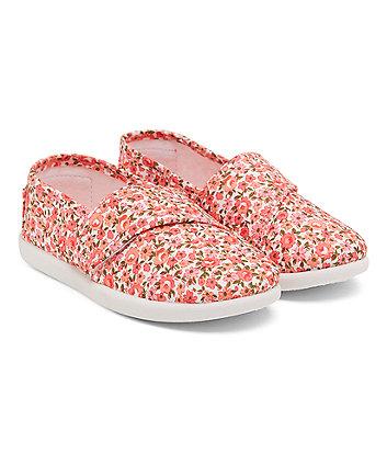 Pink Floral Canvas Shoes