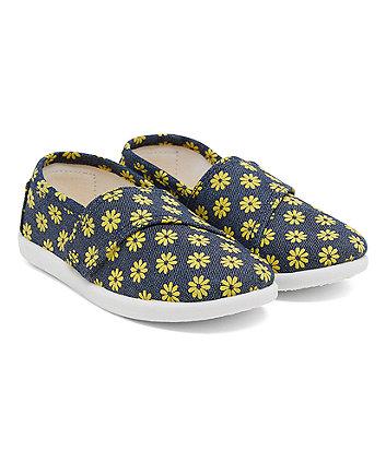 Denim Floral Canvas Shoes