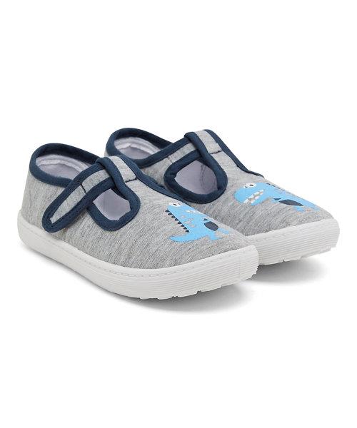 Grey Dinosaur T-Bar Canvas Shoes