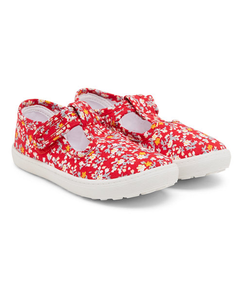 Red Floral T-Bar Canvas Shoes