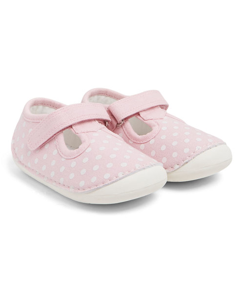Pink Spotty Crawler Shoes