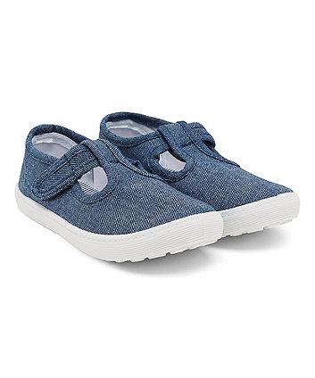 Blue Denim T-Bar Canvas Shoes