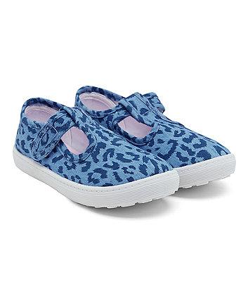 Denim Leopard Print T-Bar Canvas Shoes