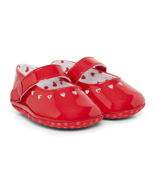Patent Heart Punch Out Shoes
