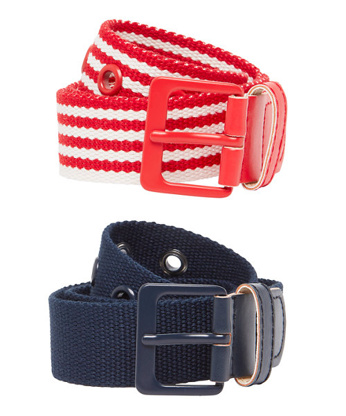 Navy and Red and White Woven Belts - 2 Pack