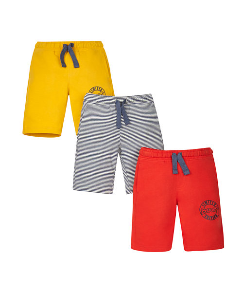 Stripy, Red and Mustard Shorts - 3 Pack
