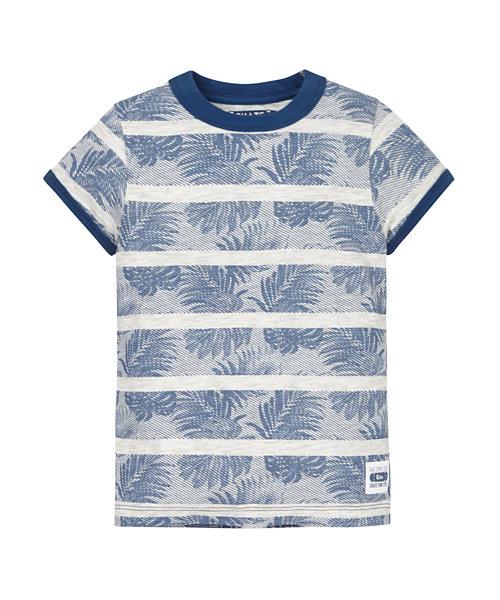 Stripe and Leaf Print T-Shirt