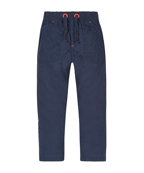 Ribwaist Navy Roll Up Trousers