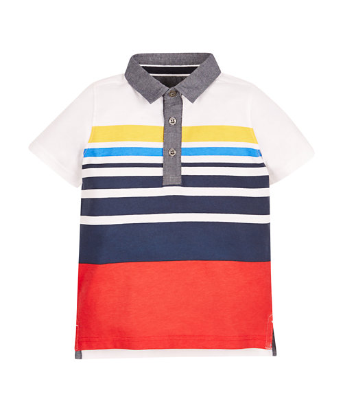 Stripy Chambray Polo Shirt