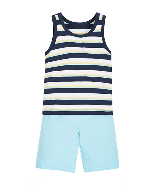 Stripy Vest and Shorts Set