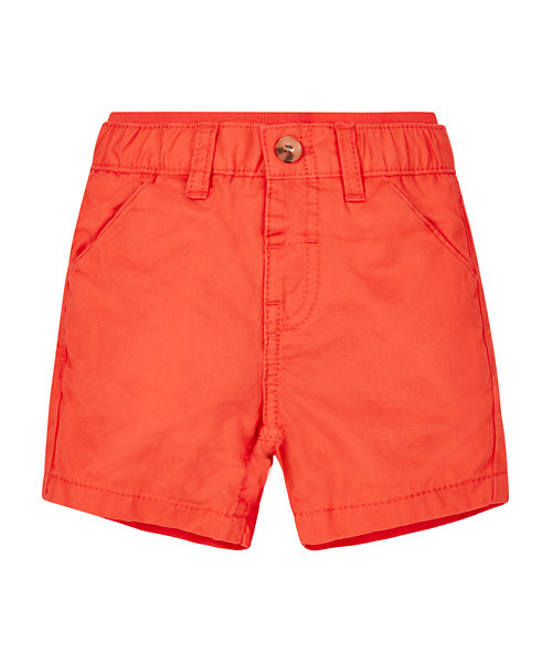 Orange Ribwaist Chino Shorts