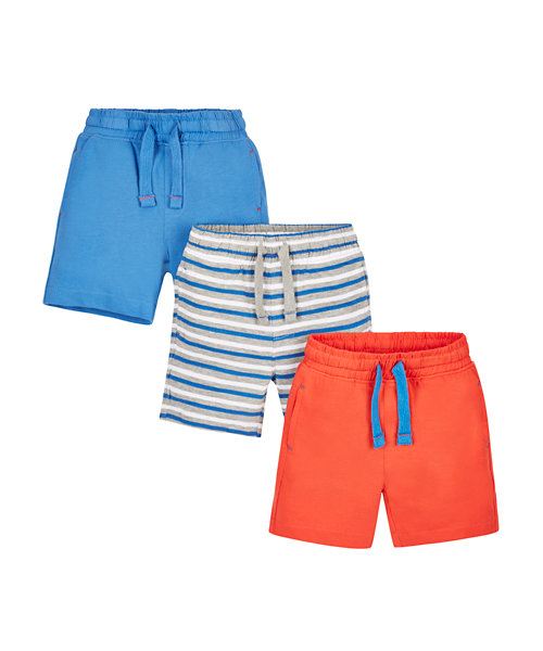 Red, Blue and Stripy Shorts - 3 Pack