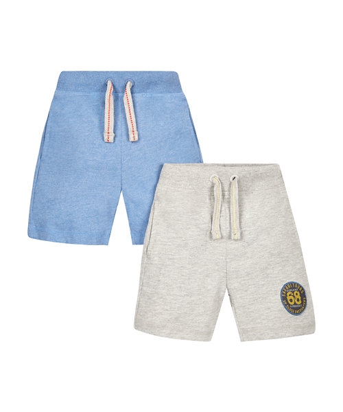 Grey Marl and Blue Badge Shorts - 2 Pack