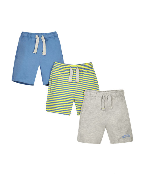 Stripy and Plain Shorts - 3 Pack