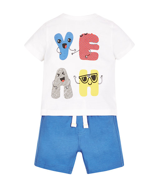 Slogan T-Shirt and Shorts Set