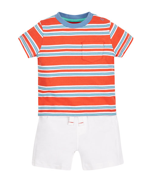 Stripe T-Shirt and Shorts Set