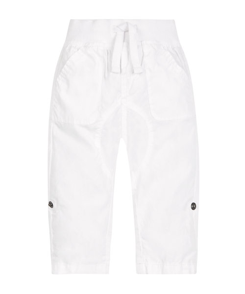 White Poplin Roll Up Trousers