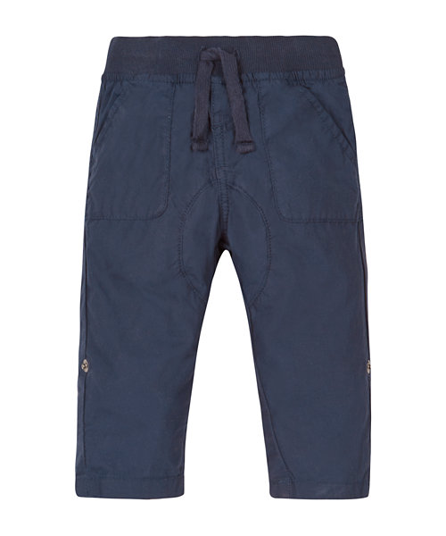 Navy Poplin Roll Up Trousers