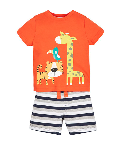 Animal T-Shirt and Shorts Set