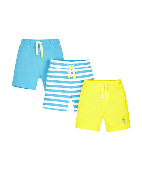 Yellow, Stripy and Blue Shorts - 3 Pack